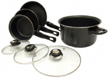 Leisurewize 7 Piece Pan Set Lightweight for Caravaning, camping or home